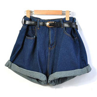 Blue High Waist Crimping Denim Shorts