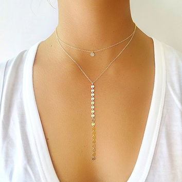 Long Coin Lariat Necklace