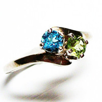 """Topaz and peridot ring, topaz, peridot, 2 stone ring, mothers ring, s 6 """"Lady Love"""""""