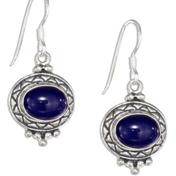 Sterling Silver Earrings: Etched Border Oval Cabochon Lapis Earrings