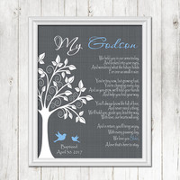 GODSON Baptism Wall Art, Christening Gift, Gift for Godson, Personalized Baby Gift, Dedication Gift -PRINT, CANVAS, Digital File