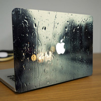 "Rain Water Drop on Glass Front Cover Full Skin Sticker for Mac Apple MacBook Pro Air Retina 11"" 13"" 15""  Chromebook Laptop Decal"
