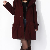 8 colors Thick cotton hooded jacket coat cotton coat, plus size wadded jacket jacket, woman coat winter jacket. 076