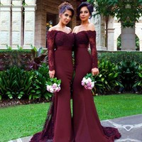 Prom Dress Burgundy Long Sleeves Evening Dress Appliques