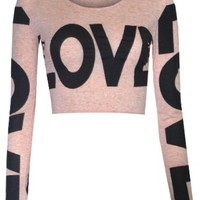 Womens Love Long Sleeved Crop Top (8/10 (uk 12/14), Cream)