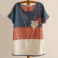 Bohemian Owl Embroidery Batwing Top