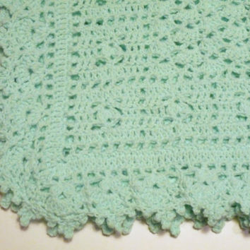 Baby blanket hat and bootie set green hand crocheted
