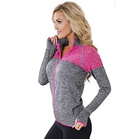 Chicloth Gray Atheletic Running Yoga Jacket with Mesh Accent