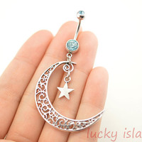 belly ring,moon and star belly button rings, bellybutton jewelry,hollow moon,body piercing,friendship bellyring,christmas gift