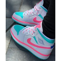 "Air Jordan 1 Mid ""Laser Blue"" all-white lychee pattern high-top all-match casual sports shoes sneakers"