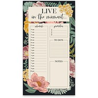 "Live In The Moment Floral Notepad | 9.5"" x 2.75"" 