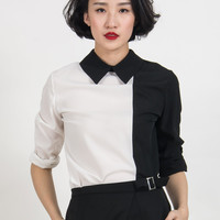 Monochrome Pointed Collar Contrast Zip Back Shirt