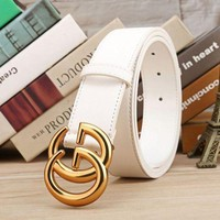 DCCK2 GUCCI Woman Fashion Smooth Buckle Belt Leather Belt-5