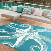 Turquoise Octopus 5 x 8 Area Rug