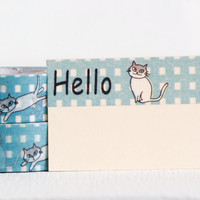 Blue Check and White Cat Hello Washi Tape, 15mm