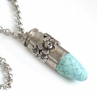 Upcycled Bullet Necklace Cowgirl Jewelry - Turquoise and Silver Pendant Ammo Jewellery