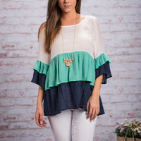 Frilly Adventures Top, Mint-Navy
