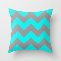 Chevron Turquoise Throw Pillow by Alice Gosling