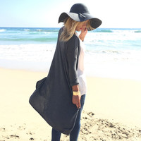 Be With You Someday Duster Cardigan In Charcoal