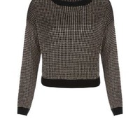 New Look Mobile | Black and Gold Metallic Yarn Jumper
