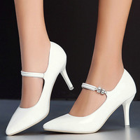 Simple and Sexy Bride Pointed Toe Thin High Heel White Wedding Pumps Women Soft Leather Fashion Mary Janes Party Pumps