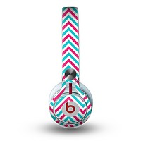 The Blue & Pink Sharp Chevron Pattern Skin for the Beats by Dre Mixr Headphones