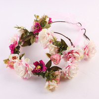 Fashion Mommy & Kids Wreath Flowers Headband Floral Crown Hairbands Wedding Girls Headwear