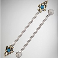 Turquoise-Effect Arrow Industrial Barbell 2 Pack - 14 Gauge - Spencer's