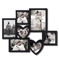 Adeco Decorative Black Plastic Wall Hanging Collage Picture Photo Frame