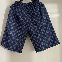 LV 2020 new full-print presbyopia dark blue men and women five-point pants shorts