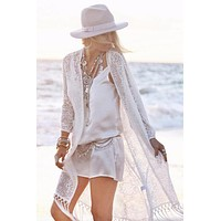 Boho Fringe Lace Kimono Cardigan Beach Cover Up Cape