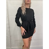 Day to Night Gathered Sleeve Dress - Black