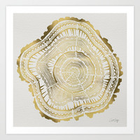 Gold Tree Rings Art Print by Cat Coquillette