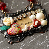 SALE Te Amo, I Love You, Spanish, Collage Jewelry, Romantic Necklace, Pearls Roses Hearts, Gift for her