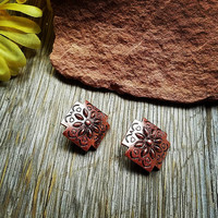 Clip On Copper Square Earrings