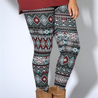 Plus Size Legging with Turquoise and Wine Tribal Print