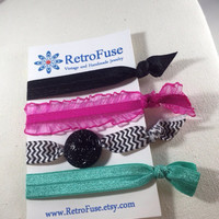 Hair ties, ponytail holders, black and pink elastic hair ties, teal elastic hair tie, creaseless hair tie, no crease hair ties, FOE hair tie