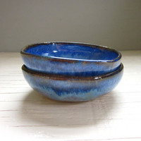 2 blue miniature salt cellars bowls tea light by JDWolfePottery
