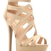 Natural Faux Suede Cross Strap Platform Heels