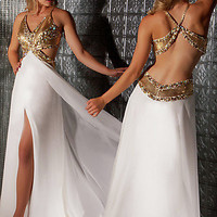Prom Dresses, Celebrity Dresses, Sexy Evening Gowns at PromGirl: Long V-Neck Evening Dress 7196M