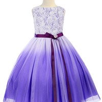 Purple Ombré Tulle Girls Dress with Rosette Bodice 2T-14