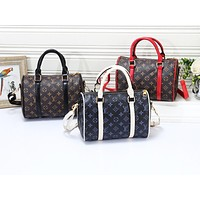 Louis vuitton popular casual handbag for men and women fashion printed patchwork duffel bag