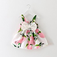 Girls Costume Floral Summer Bow knot Party Sleeveless Print Dress Sundress Clothes Toddler Kids Baby Girl Dresses Children Cloth