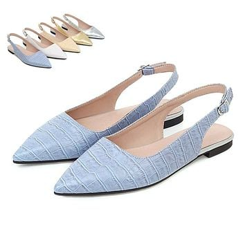 Women's Pointed Toe Slingback Flats Shoes