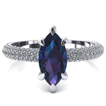 Elley Marquise Alexandrite 6 Claw Prong Diamond Accent Engagement Ring