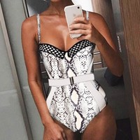 New fashion leopard snake texture print solid color swimsuit straps one piece bikini