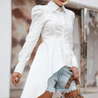 New style single row multi-button irregular front short back long sleeve slim shirt