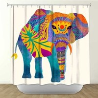 DiaNoche Designs Shower Curtains by Arist Pom Graphic Design Unique, Cool, Fun, Funky, Stylish, Decorative Home Decor and Bathroom Ideas - Whimsical Elephant I