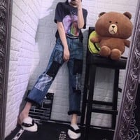 """Dior"" Women Casual Fashion Personality Letter Pattern Print Short Sleeve T-shirt Top Tee"
