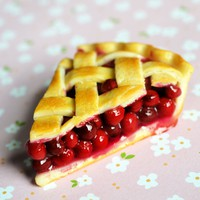 Cherry Pie Slice Miniature Food Fridge Magnet, Polymer Clay